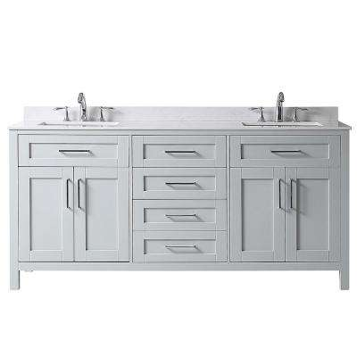 Riverdale 72 in. W x 21 in. D Vanity in Dove Grey with Marble Vanity Top in White with White Sink