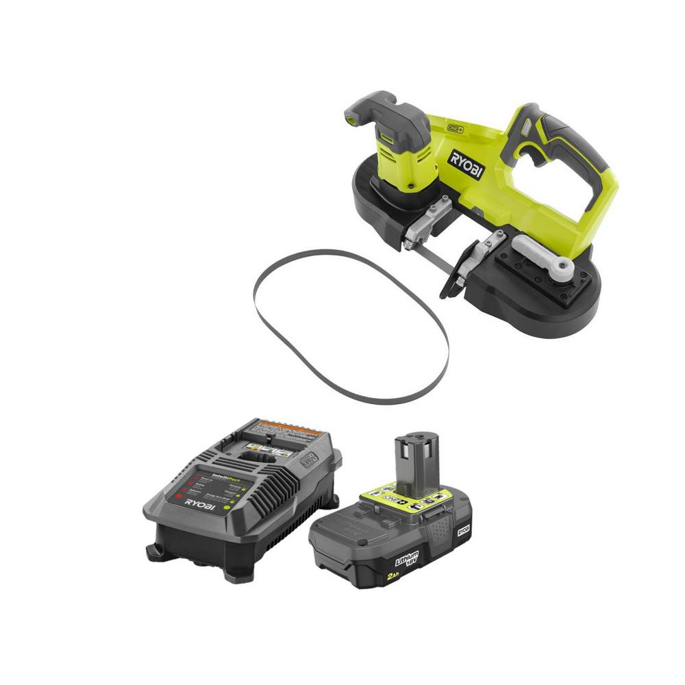 RYOBI 18-Volt ONE+ Cordless Portable Band Saw Kit with (1) 2.0 Ah Lithium-Ion Battery and Dual Chemistry Charger