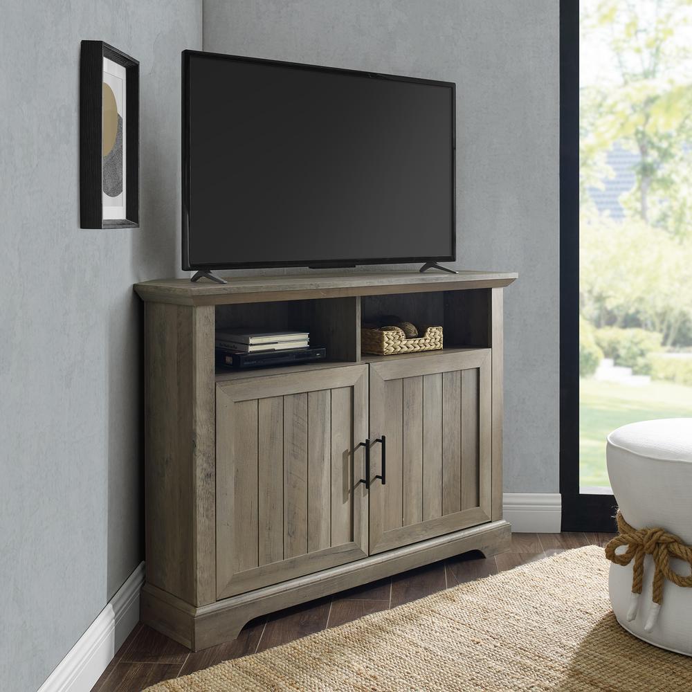 44 in. Grey Wash Composite Corner TV Stand Fits TVs Up to 48 in. with Storage Doors