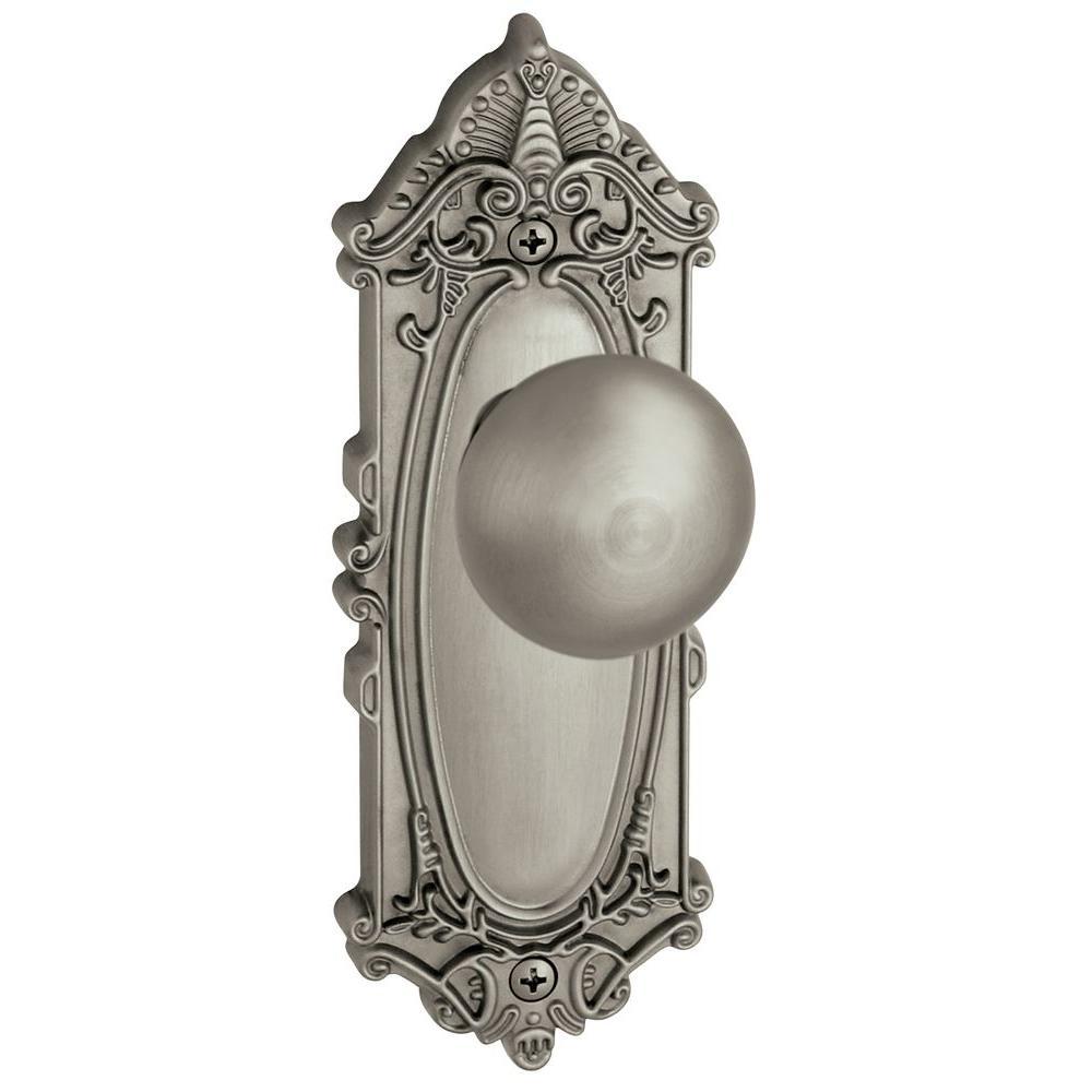 Grandeur Grande Victorian Satin Nickel Plate with Dummy Fifth Avenue Knob