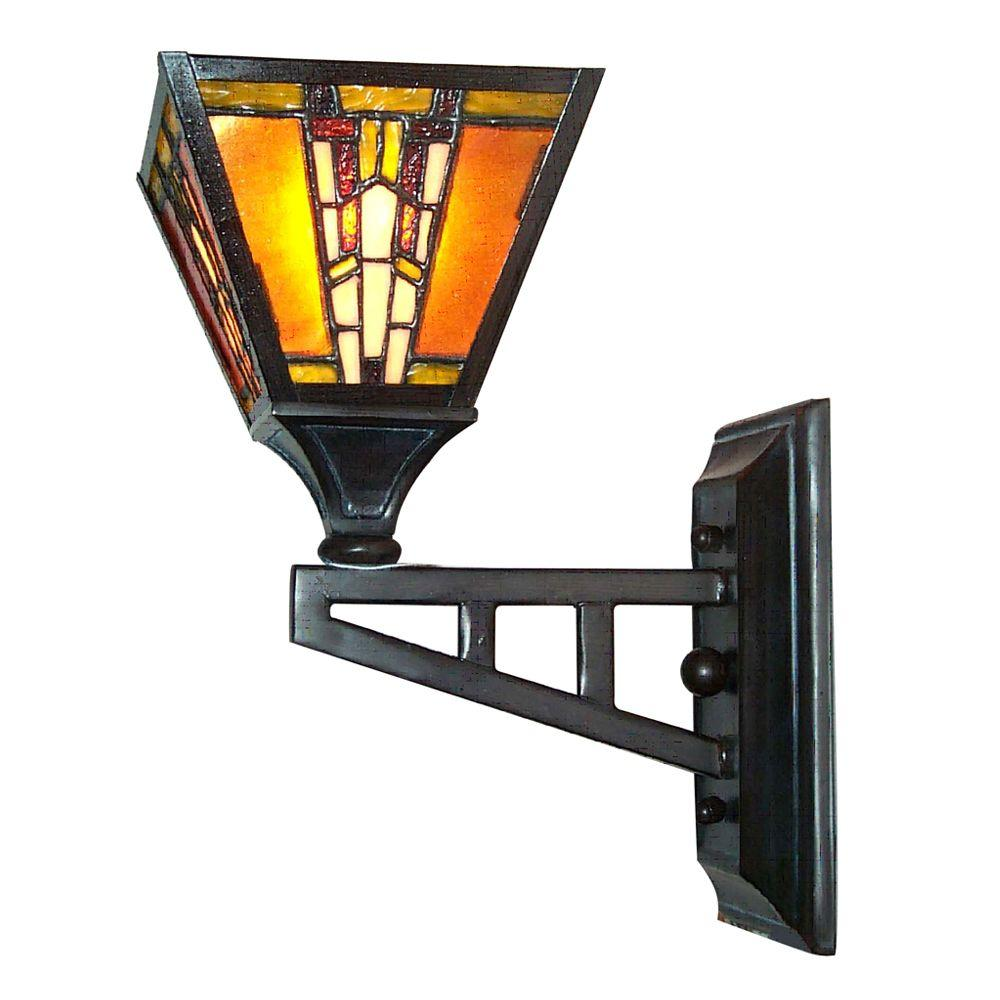 Dale Tiffany 1-Light Amber Bronze/Copper Monarch Mica Wall Sconce