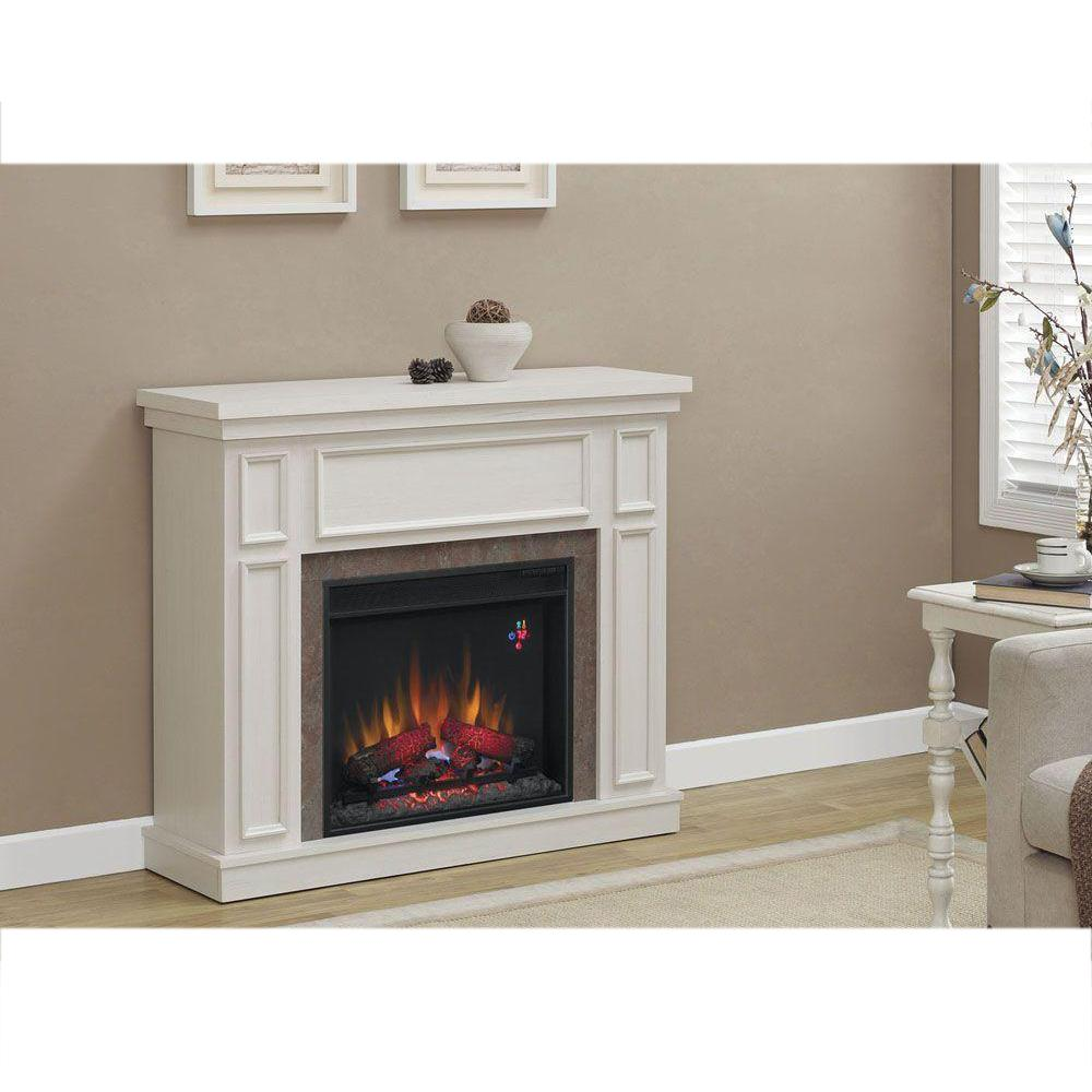Home Decorators Collection Granville 43 in. Convertible Media Console Electric Fireplace in Antique White with Faux Stone Surround
