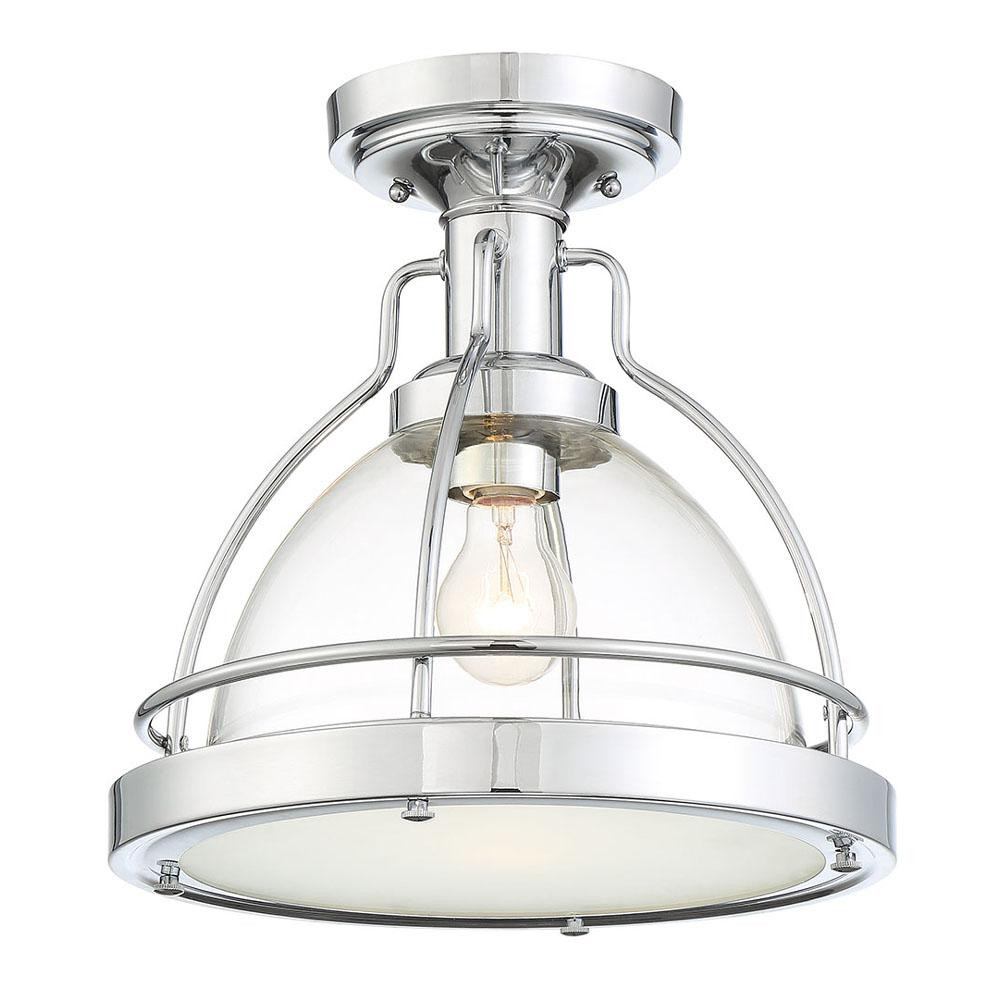 CordeliaLighting Cordelia Lighting Round 13 in. 1-Light Chrome Semi-Flush Mount