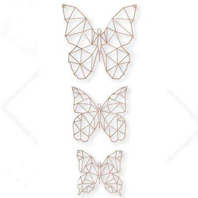 """16 in., 12 in. and 10 in. x 16 in., 12 in. and 10 in. """"Flutter"""" Metal Art Wall Art (Set of 3)"""