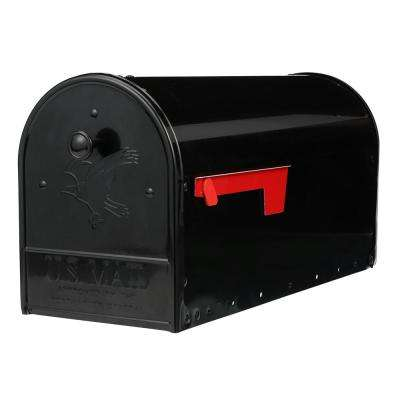 Outback Double Door Black Galvanized Steel Post Mount Mailbox with Rear Access Door