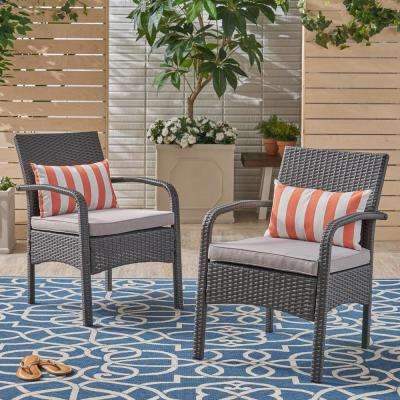 Lena Gray Stationary Wicker Outdoor Lounge Chair with Silver Cushion (2-Pack)