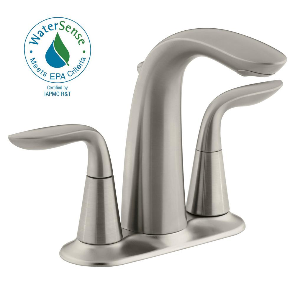 KOHLER Linwood 4 in. Centerset 2-Handle Water-Saving Bathroom Faucet ...