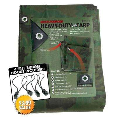 8 ft. x 10 ft. Heavy-Duty CAMO Reversible Poly 10 mil Tarp Kit Includes 4-Free Bungee Hook Tie Downs