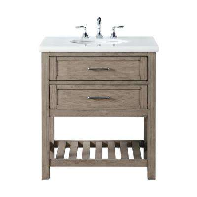 Wimsbury 30 in. W x 22 in. D Bath Vanity in Weather Oak with Marble Vanity Top in White with White Basin