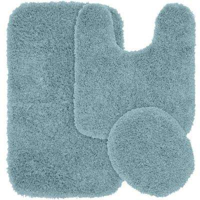Jazz Basin Blue 21 in. x 34 in. Washable Bathroom 3-Piece Rug Set