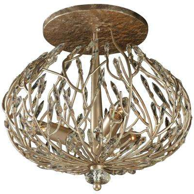 Bask 3-Light Gold Dust Semi-Flushmount with Premium Crystal