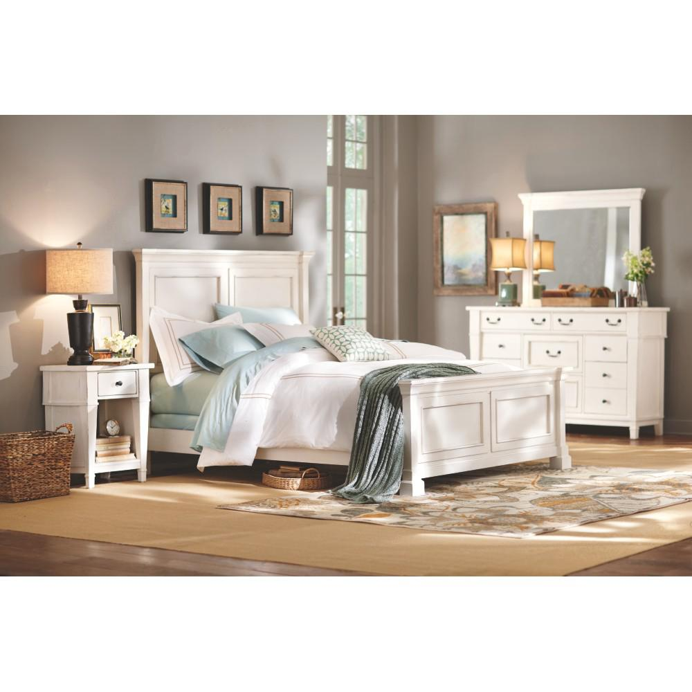 Bridgeport antique white queen bed frame 1872500460 the home depot Home furniture queen size bed