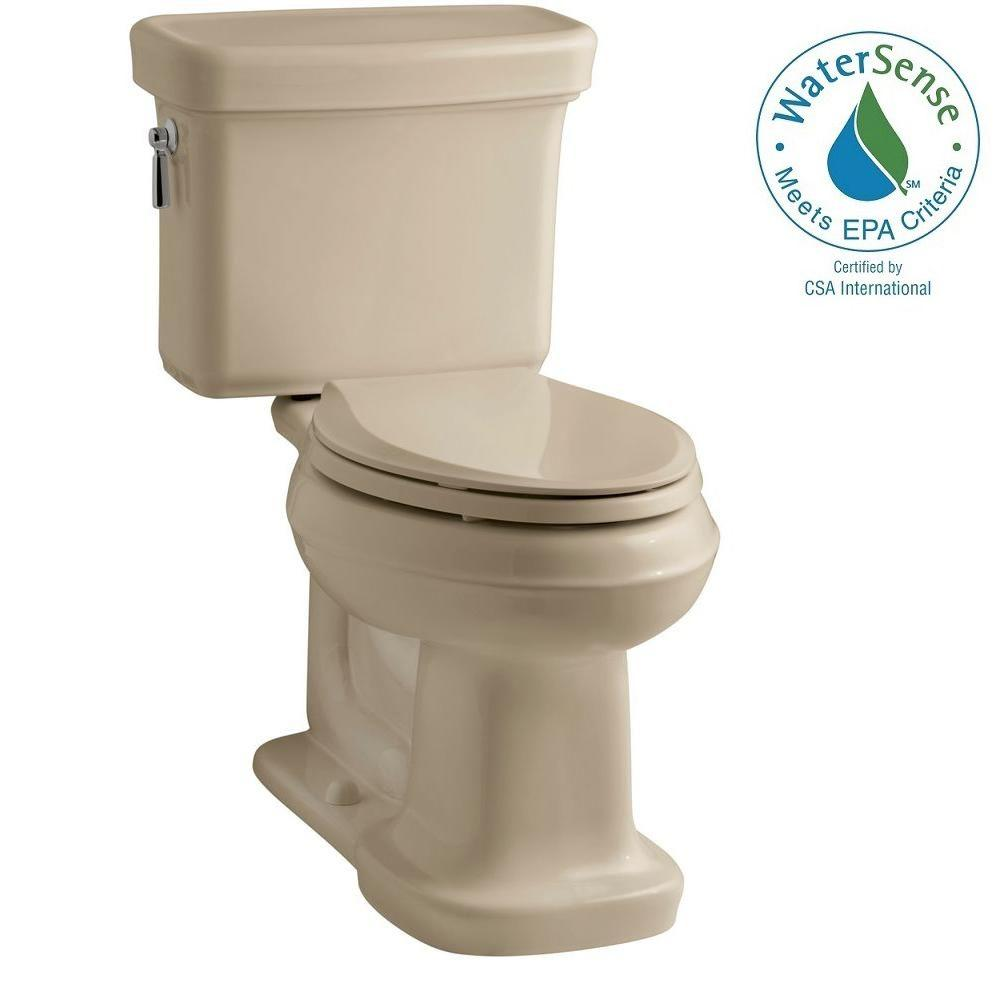 KOHLER Bancroft 2-Piece 1.28 GPF Single Flush Elongated Toilet with AquaPiston Flush Technology in Mexican Sand