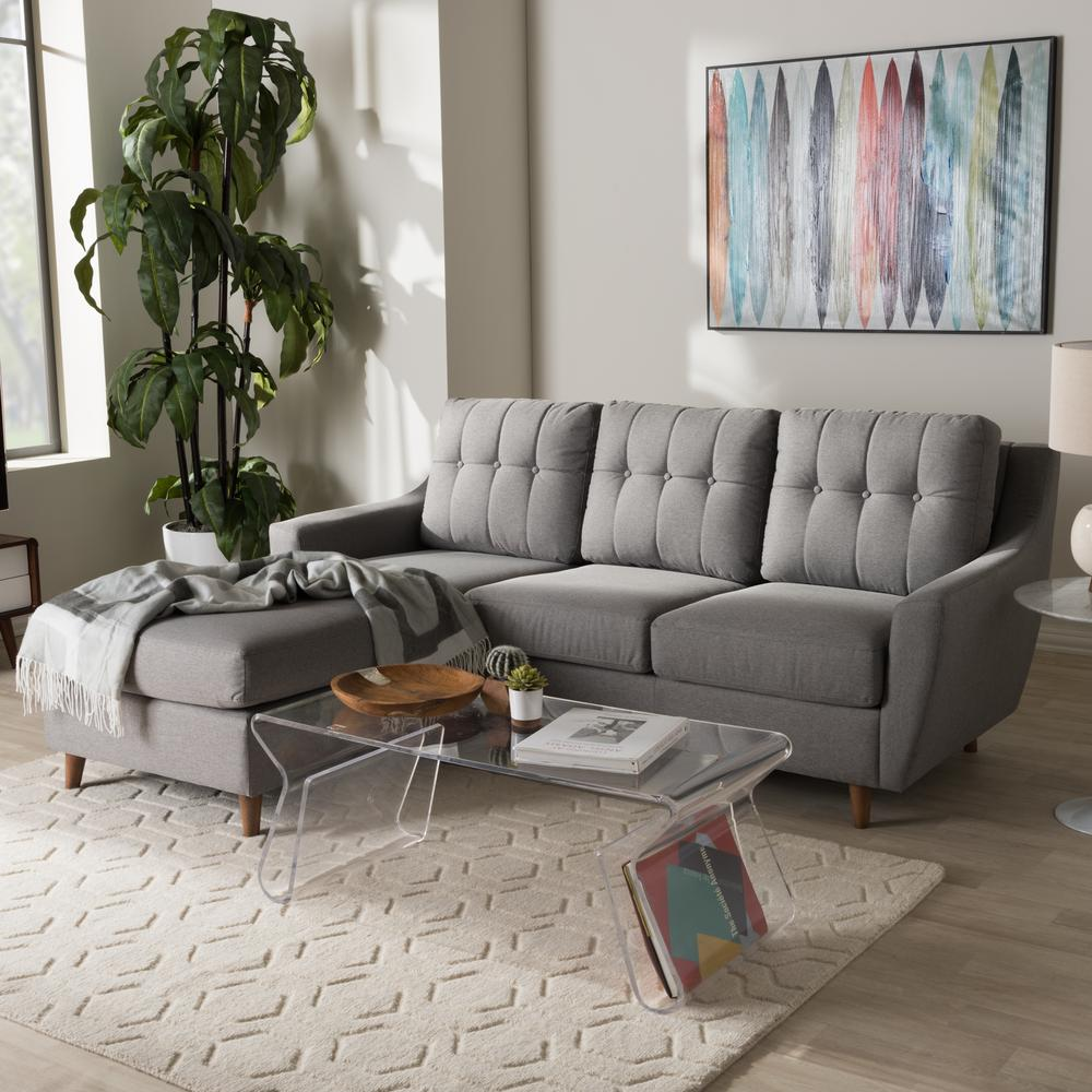 Contemporary Gray Fabric Upholstered Left Facing Chase