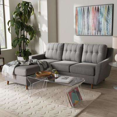Mckenzie 2-Piece Contemporary Gray Fabric Upholstered Left Facing Chase Sectional Sofa