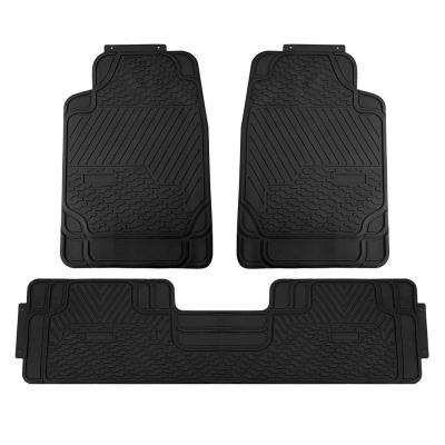 Black Heavy Duty 3-Piece 29 in. x 19 in. x 2 in. Durable Rubber All Weather Protection Car Floor Mats