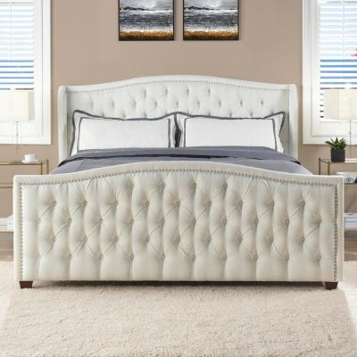 Marcella Antique White King Upholstered Bed