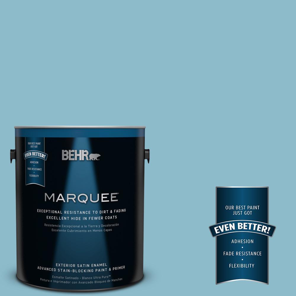 BEHR MARQUEE 1-gal. #S460-3 Blue Echo Satin Enamel Exterior Paint