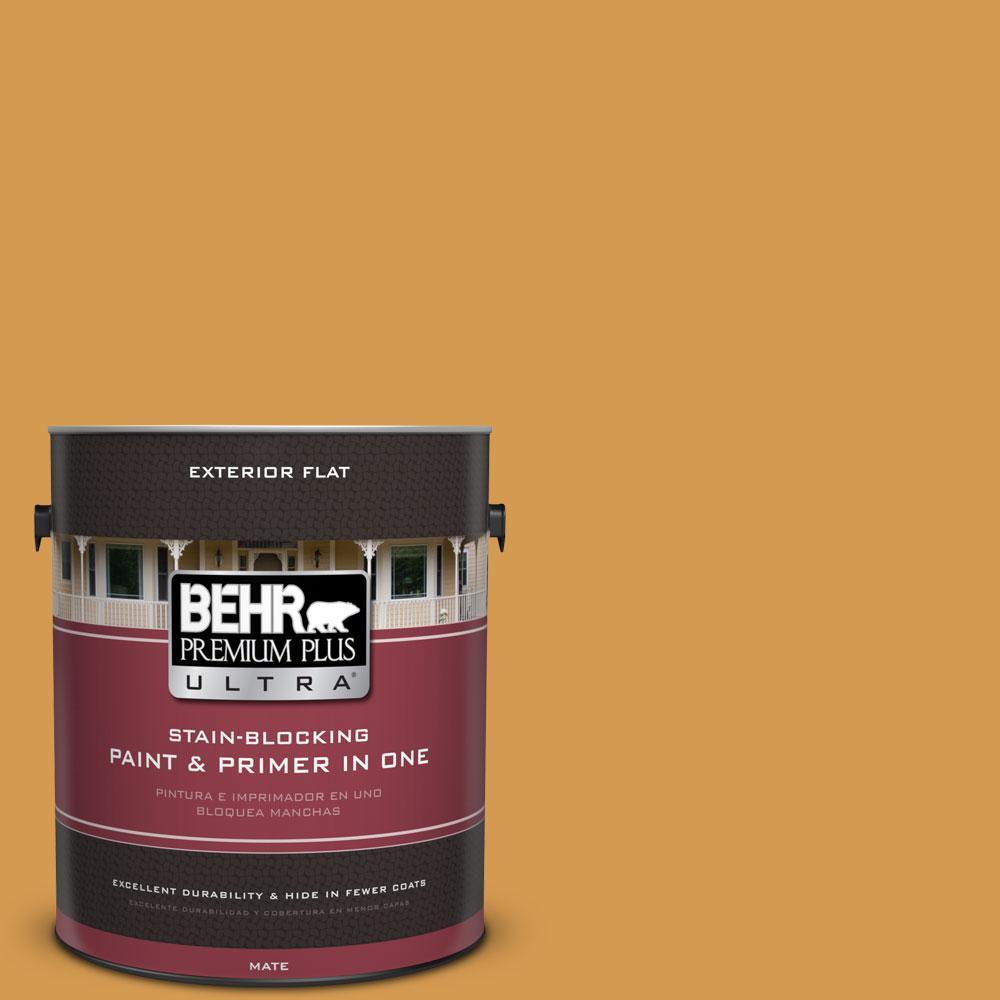 BEHR Premium Plus Ultra 1-Gal. #PPU6-2 Saffron Strands Flat Exterior Paint
