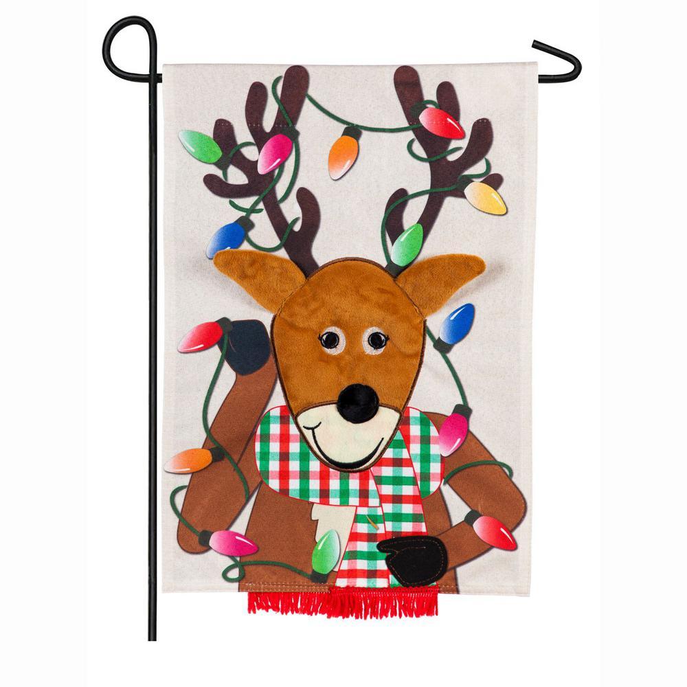 18 in. x 12.5 in. Reindeer Garden Linen Flag