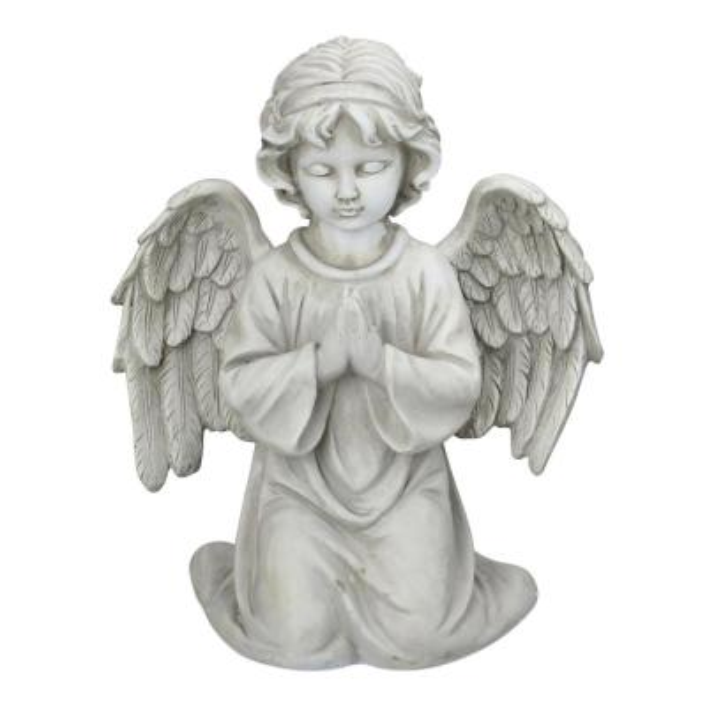 15 in. Kneeling in Prayer Cherub Outdoor Garden Statue