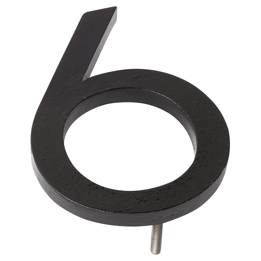 10 in. Black Aluminum Floating or Flat Modern House Number 6