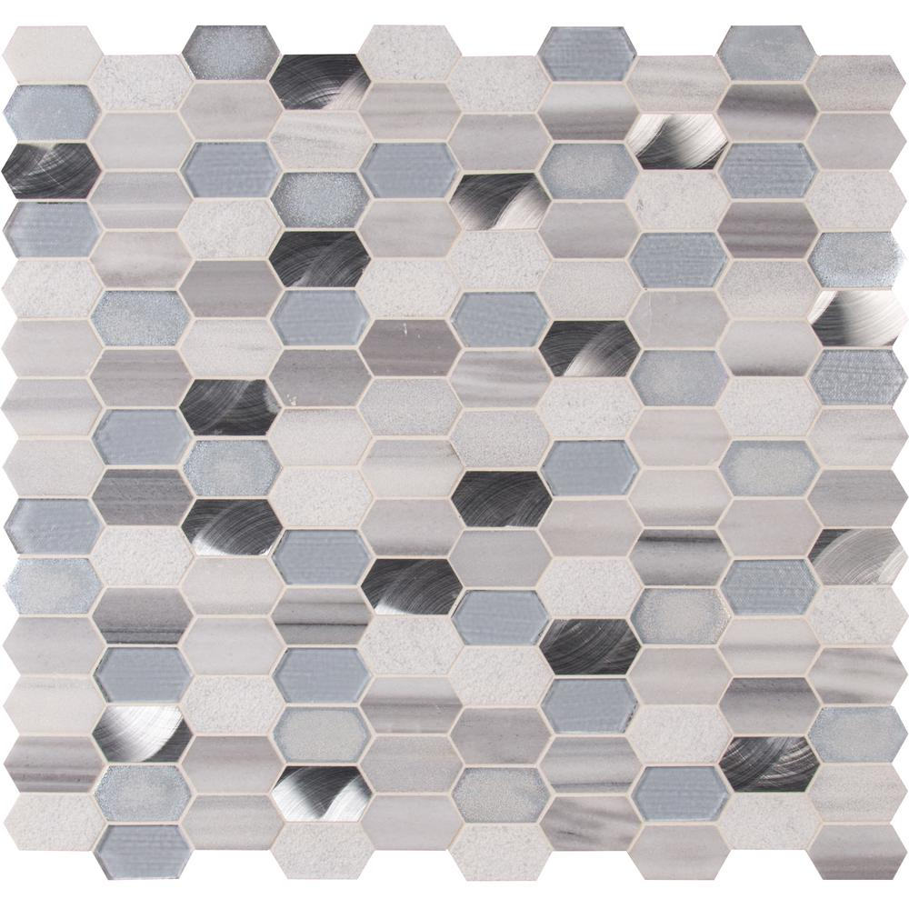 Msi Harlow Picket 12 In X 8 Mm Gl Metal Stone Mesh Mounted Mosaic Tile