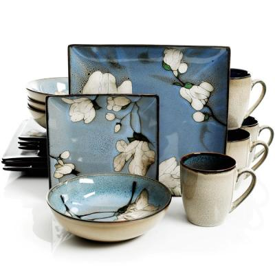 Bloomington 16-Piece Square Blue Dinnerware Set (Service for 4)
