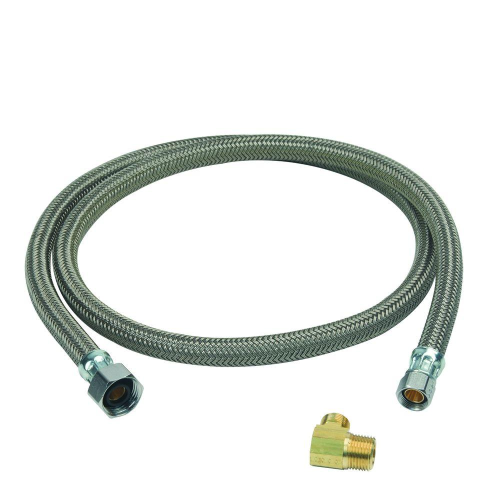 BrassCraft 1/2 in. FIP x 3/8 in. Compression x 48 in. Braided Polymer Dishwasher Connector with 3/8 in. Compression Elbow