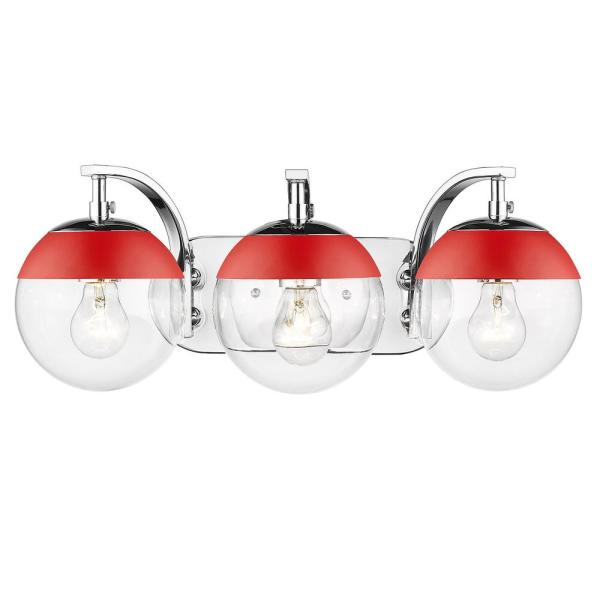 Dixon 12 in. 3-Light Chrome with Clear Glass and Red Cap Bath Vanity Light