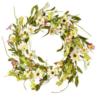20 in. Mixed Flowers White/Purple Floral Wreath Decor
