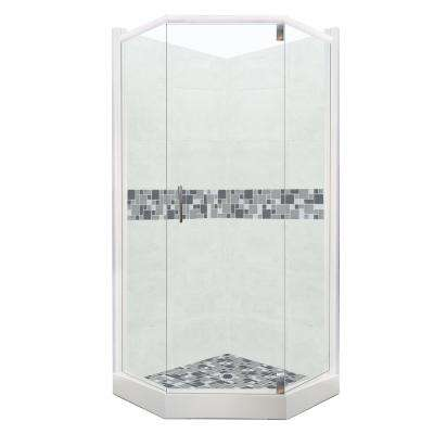 Newport Grand Hinged 32 in. x 36 in. x 80 in. Right-Cut Neo-Angle Shower Kit in Natural Buff and Chrome Hardware
