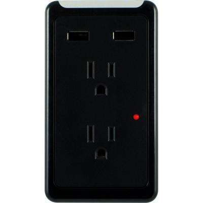 Eye Indicator 2 AC Outlet and 2-USB Port 2.1-Amp, 450 Joules Surge Protector Tap - Black