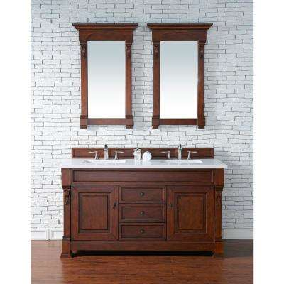 Brookfield 60 in. W Double Bath Vanity in Warm Cherry with Quartz Vanity Top in Classic White with White Basin