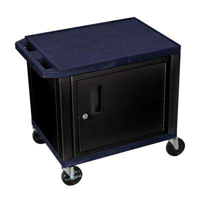 WT 26 in. A/V Cart with Black Cabinet, Navy Shelves
