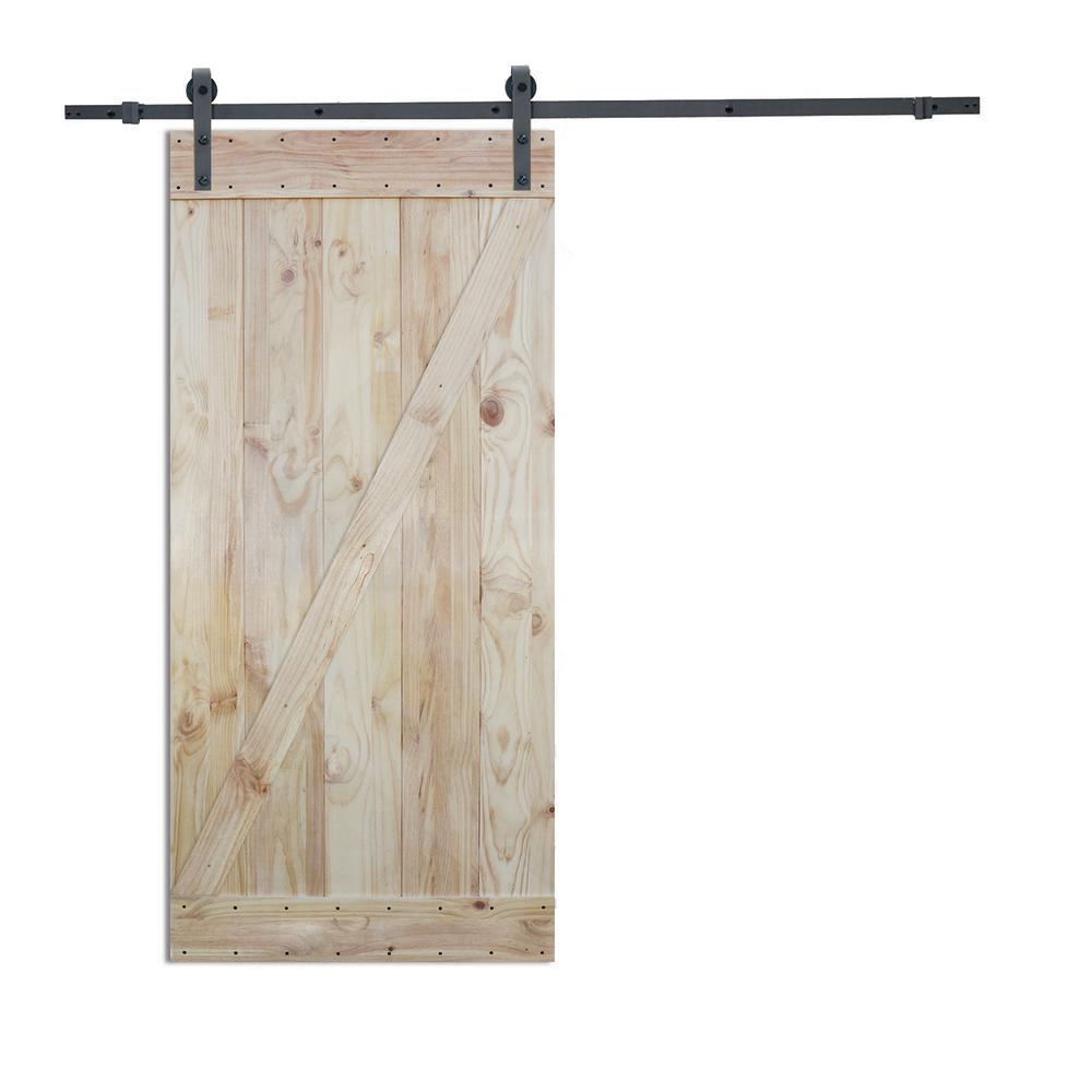 36 in. x 84 in. 2-Side Z-Bar Wood Color Pine Slab Interior Barn Door with 6 ft. Sliding Door Hardware Kit