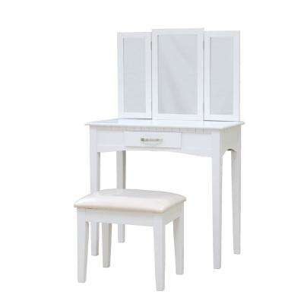 Malachi 3-Piece White Bedroom Vanity Set with Mirror