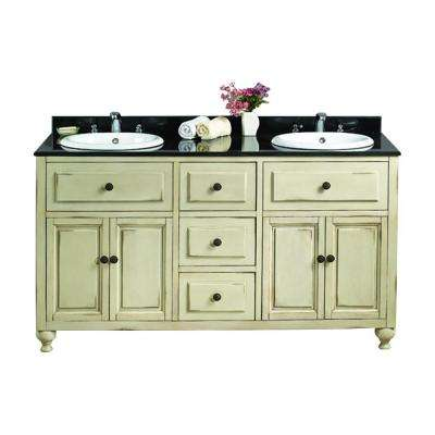 Kensington II 60 in. W x 21 in. D Vanity in Antique White with Granite Vanity Top in Black with White Basin