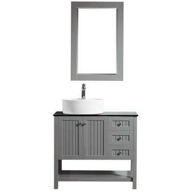 Modena 36 in. W x 18 in. D Vanity in Grey with Glass Vanity Top in Black with White Basin and Mirror