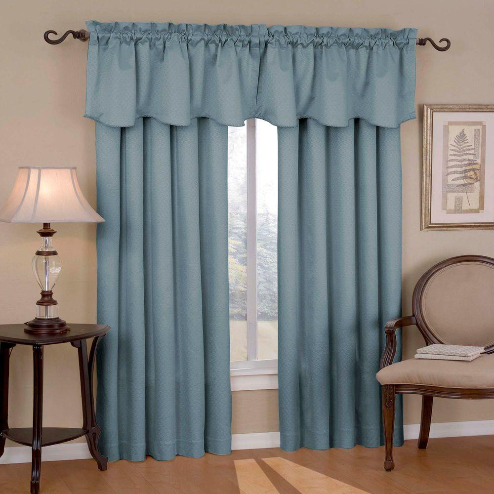 Canova Blackout River Blue Polyester Curtain Valance, 21 in. Length