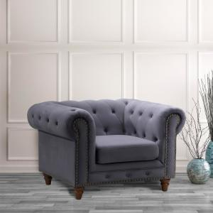 Swell Todays Mentality Kinsley Dark Gray Velvet Sofa Chair Alphanode Cool Chair Designs And Ideas Alphanodeonline