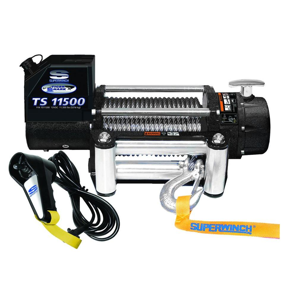 Superwinch Tiger Shark 11500 12-Volt DC Off-Road Winch with 4-Way Roller Fairlead and 12 ft. Remote
