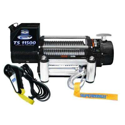 Tiger Shark 11500 12-Volt DC Off-Road Winch with 4-Way Roller Fairlead and 12 ft. Remote