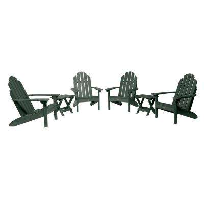Classic Wesport Charleston Green 6-Piece Plastic Patio Fire Pit Seating Set