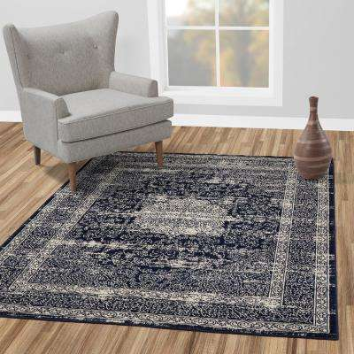 Alpina Collection Navy and Ivory 5 ft. 3 in. x 7 ft. 3 in. Oriental Medallion Area Rug