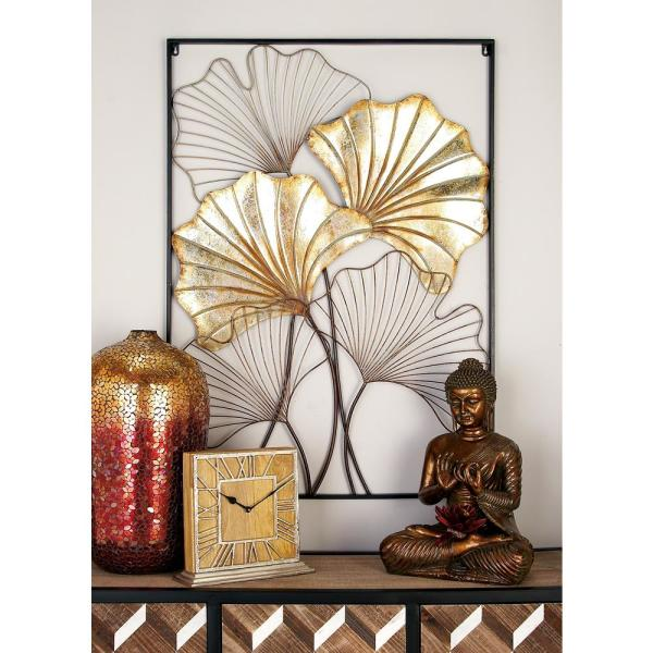 4ebf8bebf1 undefined Iron Distressed Gold and Silver Fanned Leaves Framed Wall Decor