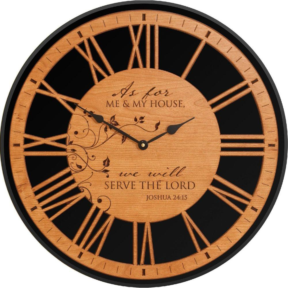 P. Graham Dunn 17 in. Cherry/Black Wall Clock As For Me and My House