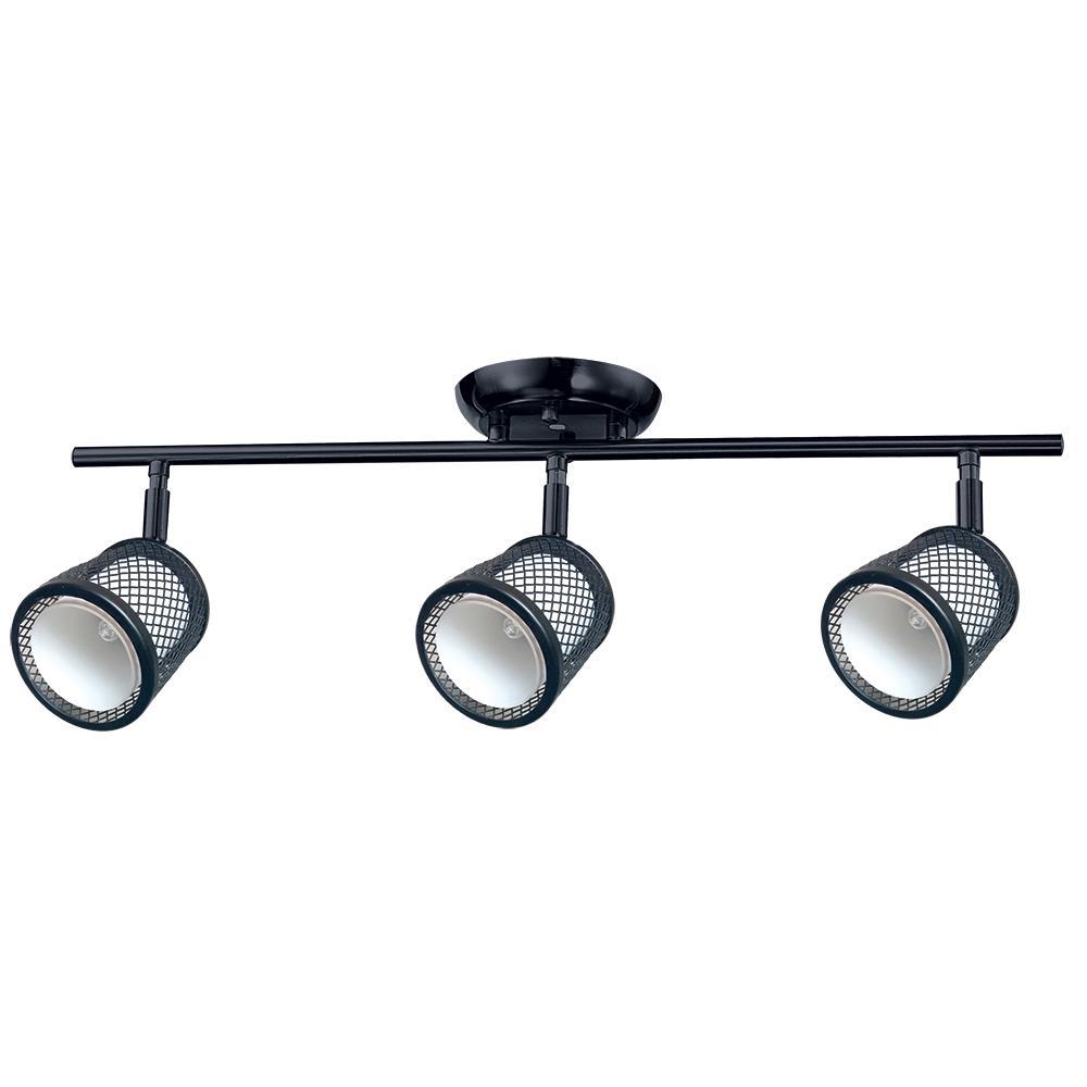 Baltimore 23.2 in. 3-Lights Black and Pewter Track Lighting Kit