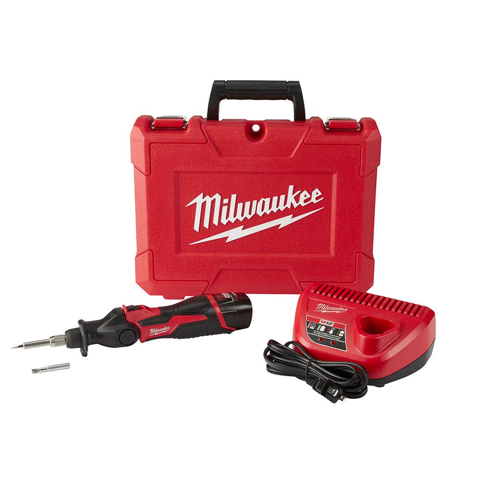 Milwaukee M12 12-Volt Lithium-Ion Cordless Soldering Iron Kit with (1) 1.5Ah Batteries, Charger & Hard Case