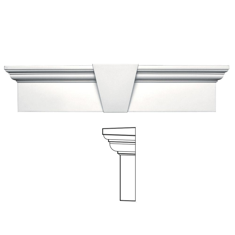Builders Edge 9 in. x 37-5/8 in. Flat Panel Window Header with Keystone in 117 Bright White
